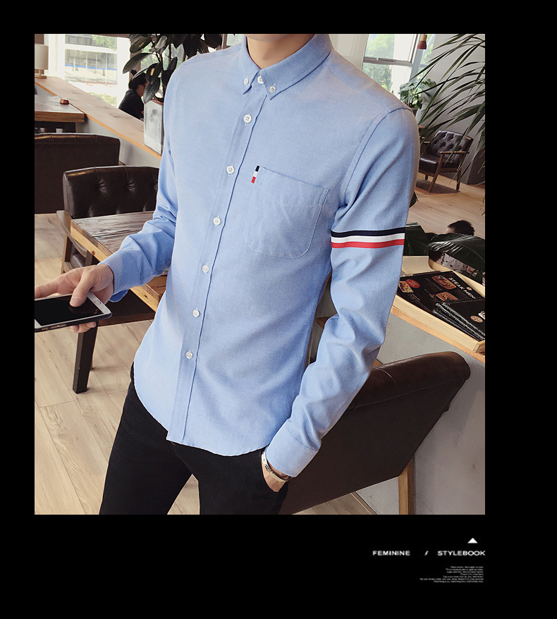 2017 New autumn men's casual tops brand shirt striped Strip decorate cotton men fashion solid color long sleeved Shirts M-XXXL 70