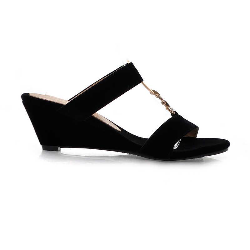 Karinluna 2018 להחליק על הבוהן שחור נשים נעלי אישה Widge עקבים גבוהים בנות משאבות אופנה נעלי גודל 33- 43 פרדות נעל