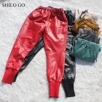 SHILO GO Leather Pants Womens Spring Fashion sheepskin genuine leather pants tie stretch high waist colors causal harem pants