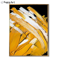 Hand painted Yellow Color Thick Oil Abstract Knife Oil Painting on Canvas for Living Room Decor Texture Abstract Hang Painting