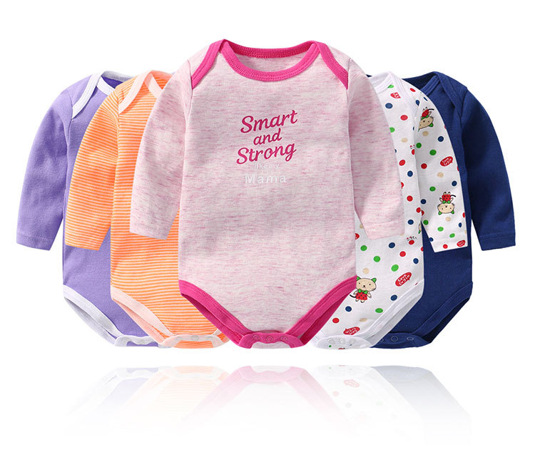High quality baby boys girls long sleeve jumpsuit bodysuit cotton newborn cartoon triangle jumpsuit bodysuit 5PCS/LOT sheer mesh bishop sleeve bodysuit