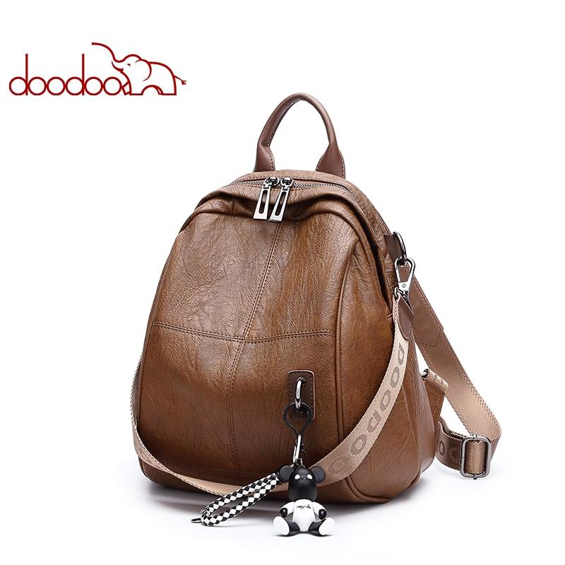 DOODOO marca Teen mochila para mujer bolso de cuero Pu mochilas de viaje multifuncional bolsas escolares oso ornamentos 2018 nuevo paquete trasero-in Mochilas from Maletas y bolsas    1