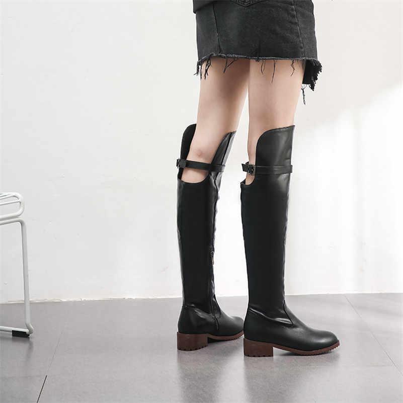 FEDONAS 2020 Punk Fermuar Toka Kadınlar Diz Çizmeler Üzerinde Zarif Uzun Çizmeler Kış sıcak binici çizmeleri Parti Temel Ayakkabı Kadın