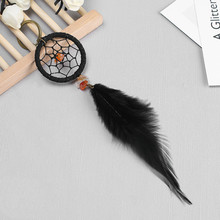 Mini Car Dream Catcher Beaded Natural Feathers Handcraft Chic Hanging Ornaments Mirror Bedroom Wall Nursery Decor Native Ring