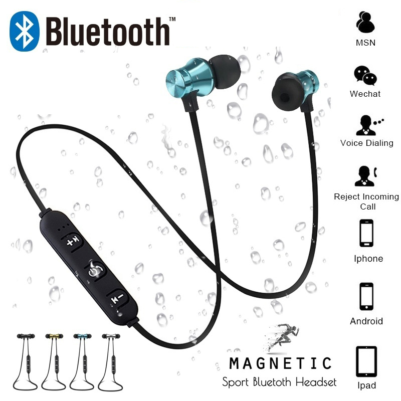 Magnetic attraction Bluetooth Earphone Headset Sweatproof sports 4.2 with Charging Cable Young Earphone Build-in Mic magnetic attraction bluetooth earphone headset waterproof sports 4.2