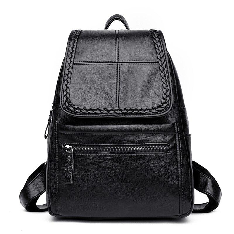 2017 Fashion Women Backpack High Quality PU Leather Backpacks for Teenage Girls Female School Shoulder Bag Bagpack mochila Knit
