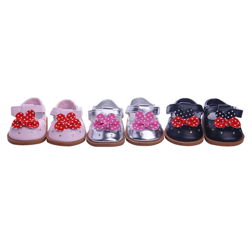 Cute Bowknot Sticky Strap PU Leather Shoes for 18inch American DollsMy Life Dolls Our Generation Girl Clothing Dolls Accessories our generation dolls кукла эйприл 46 см our generation dolls