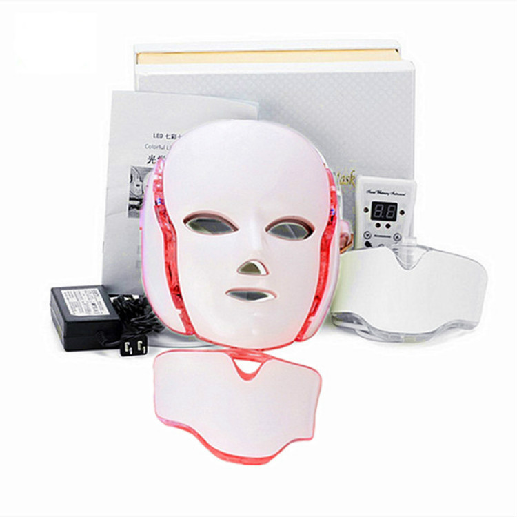 Best  Face Neck Mask 7 Color LED Treatment Skin  Whitening Firming Facial Beauty Mask Electric Anti-Aging Mask
