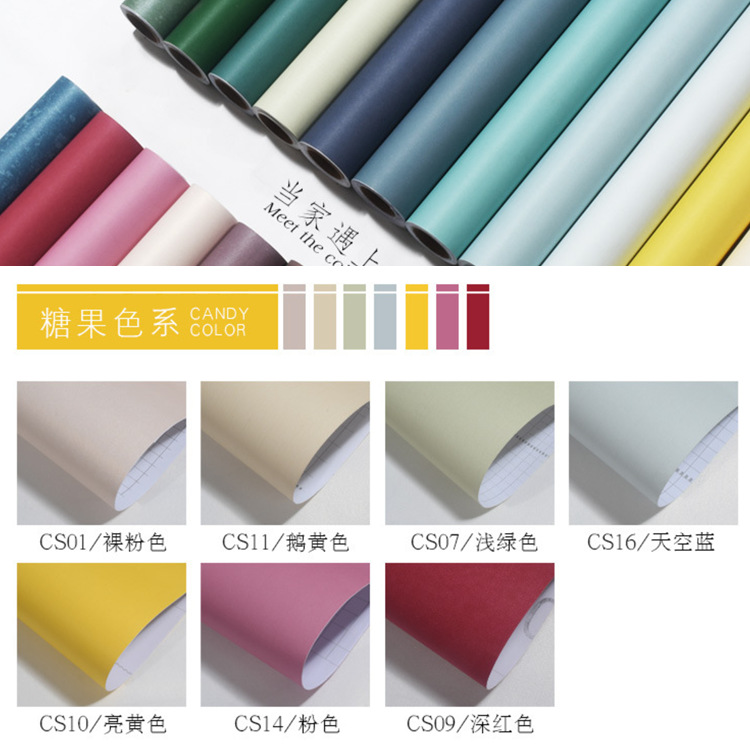0 53m 5m Pure color non woven new strong self adhesive wallpaper wardrobe window glass wall stickers mold proof wall papers in Wallpapers from Home Improvement