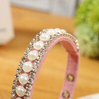 Mocha Pet Dog Collar Pink Leather Necklace Beads Diamond Dog Collar Cat Collar Real Leather 3sizes