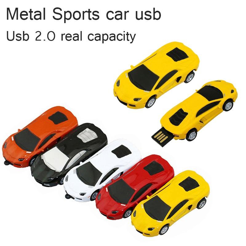 Pen Drive спортивный автомобиль стайлинг 4 ГБ / 8 ГБ / 16 ГБ / 32 ГБ оптом металлический автомобиль USB флэш-накопитель флэш-памяти флешки Pendrive подарок
