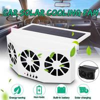 Solar Powered Car Cooler Front/Rear Window Radiator Exhaust Fan Auto Air Vent Fan Ventilation Radiator Cooling System