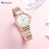 Rossini женские часы из нержавеющей стали Кварцевые наручные часы женские часы модные золотые ремешки жизни водонепроницаемые
