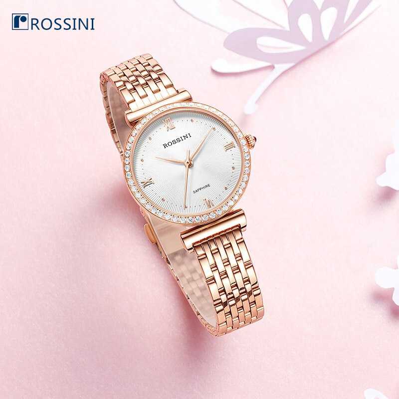 Rossini Ladies Watch Stainless Steel Quartz Wristwatches Female Clock Fashion Gold Straps Life WaterproofRossini Ladies Watch Stainless Steel Quartz Wristwatches Female Clock Fashion Gold Straps Life Waterproof