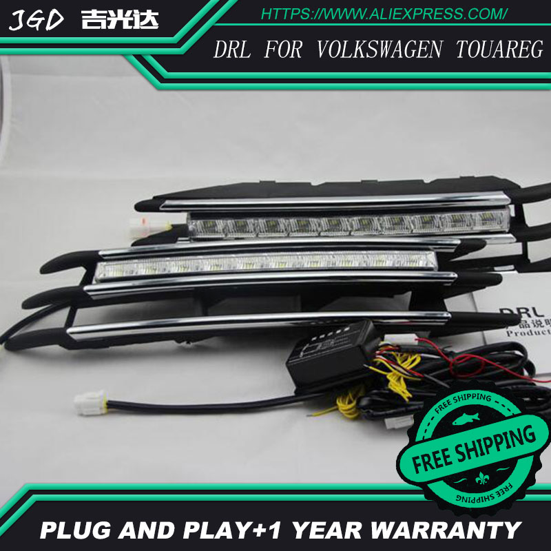 Free shipping ! 12V 6000k LED DRL Daytime running light for VW Touareg 2011 2012 2013 fog lamp frame Fog light Car styling