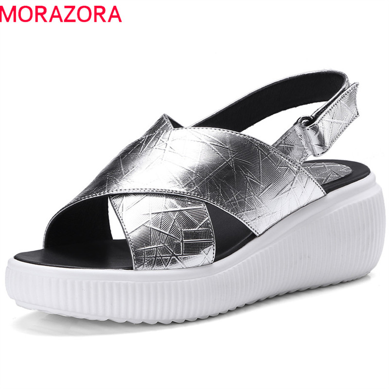 MORAZORA 2018 new arrive women sandals fashion simple summer shoes big size 34-42 genuine leather solid comfortable flat shoes aiyuqi 2018 new genuine leather women sandals plus size 41 42 43 fashion portable comfortable summer ladies flat sandals