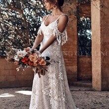 Encaje Vintage vestido de novia de playa bohemio 2020 Sexy tirantes espagueti fuera del hombro vestidos de novia Bohemia de verano vestido de novia de campo