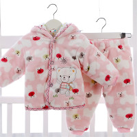 2Pcs 2017 Baby Kids Fall Winter Flannel Clothing Set Newborn Thick Clothes Boys Girls Hooded Coat