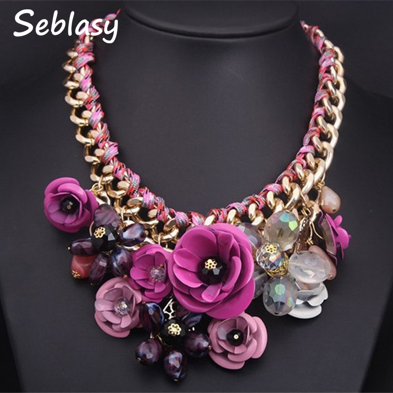 Seblasy Collier Chunky Gold Color Chain Handmade Braided Crystal Flowers Necklaces & Pendants Statement Necklaces For Women viennois silver gold gun color metallic necklaces cross statement necklaces for women punk style female party necklaces women