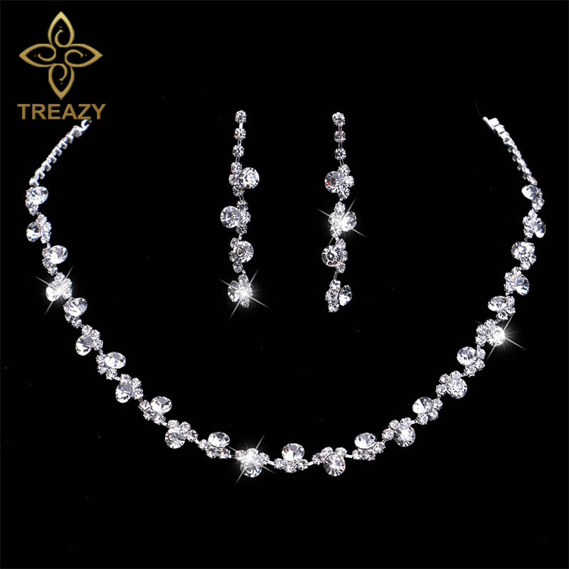 White Pearl Necklace Earrings Ring Set Wedding Bridesmaid Alloy Crystal Jewelry Set