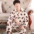 Otoño Invierno Para Mujer Pijama Suave Gruesa Franela Floral Turn Down de Manga Larga Jersey + Pants ropa de Noche Caliente Mujer Primark