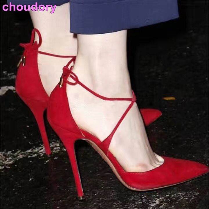 New year spring summer women chic red black suede leather high heel pumps pointed toe stiletto heel cross strap lace up shoes 2016 spring and summer free shipping red new fashion design shoes african women print rt 3