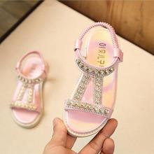 2018 New Kids Baby Summer Princess Diamond Flat Sandals Shoes Teenagers Grils School Beach Shoes 1 2 3 4 5 6 7 8 9 Years 22