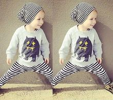 2pcs Monster Newborn Baby Toddler Boys Outfits T-shirt Tops+Pants Clothes Sets