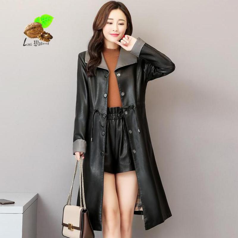 New Women Vintage Long Single Breasted Sheep Leather   Trench   Female Turn-down Collar Plus Size Slim Outerwear Windswear
