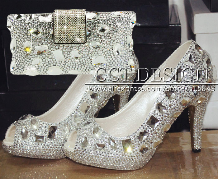 CCT Brand New Sexy Women Peep Toe Silver Rhinestone High Heels White Wedding Shoes And Matching Bags Party Prom Free Shipping 2015 sexy women black rhinestone rivet high heels wedding party prom shoes with silver spikes rivet pumps free shipping