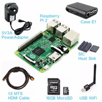 One Set : RasPI2 Board + Case E1 + Heat Sink + 5V3A Power Adapter + 16GB MicroSD + USB Wifi Adapter + 1.5MTS HDMI Cable