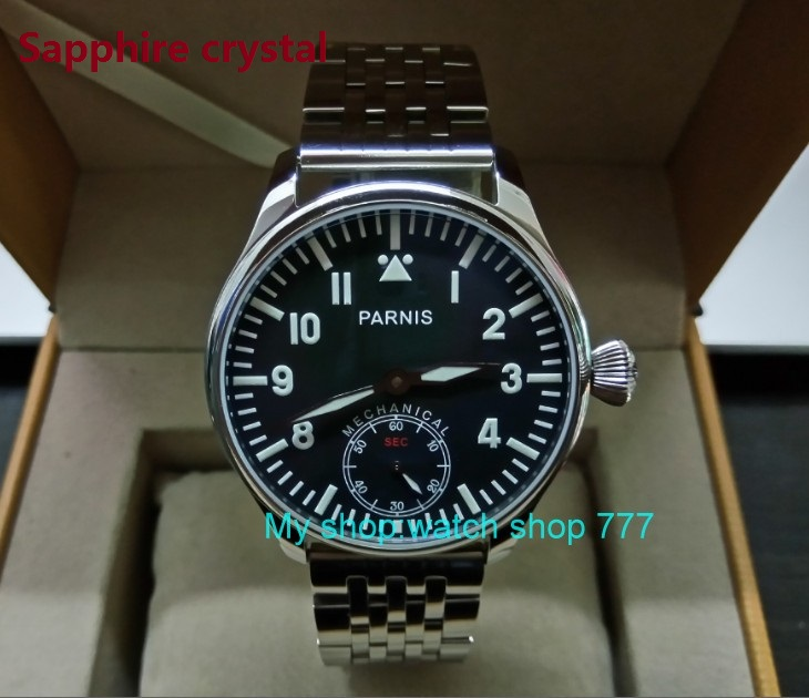 Sapphire crystal Blue luminous 44mm parnis Black dial 6498 ST3621 Mechanical Hand Wind movement men s