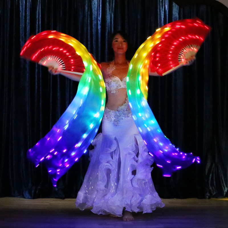 New Women Tie-dyed Belly Dance Fan Veils long Silk Fan Bamboo Fans Hand Made Hot