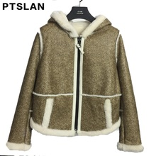 Ptslan Real Fur Coat Fur Jackets With Leather Real Double-faced Fur Shearling Coats Women Genuine Sheepskin Leather Winter Short