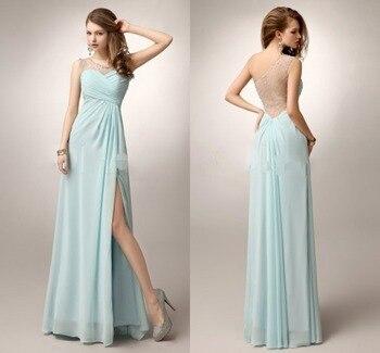 Vestido de Novia Prom Dresses Long 2020 Mint Green One Shoulder High Split Beaded Formal Party Dress Sexy Evening Gowns