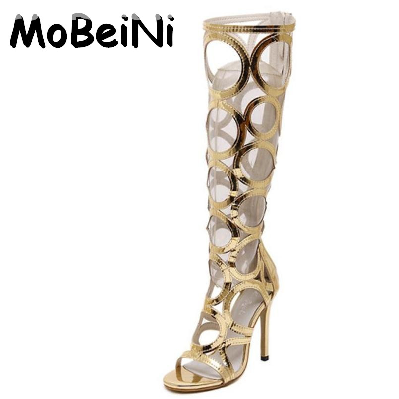 MoBeiNi Vogue Gladiator Gold Sandals Knee High Cool  Boots Women Cut-outs High Heel Sandals Woman Shoes Evening Party Tacones phyanic 2017 gladiator sandals gold silver shoes woman summer platform wedges glitters creepers casual women shoes phy3323