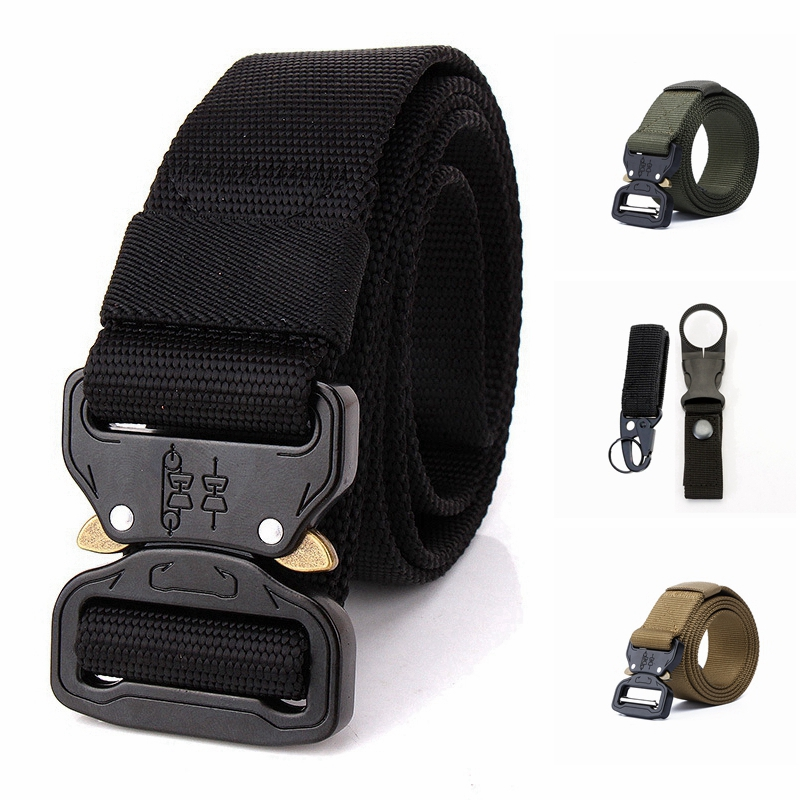 125 135 145 CM Plus Size Nylon Men   Belt   Outdoor Tactical Army   Belt   High Quality Military Metal Buckle Active   Belt   Accessories