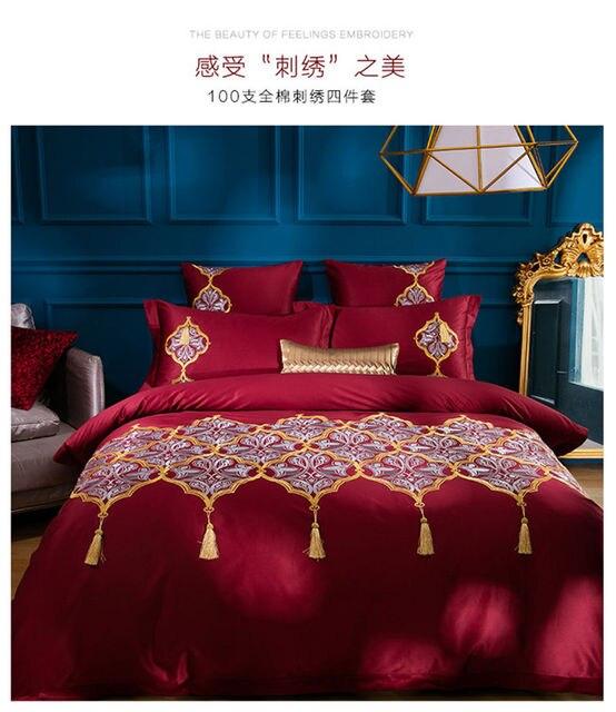 Luxus Stickerei Bettwäsche Rot ägyptischer Baumwolle Hochzeit