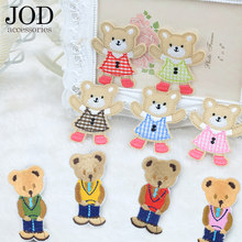JOD Cartoon Children Patches Bear Sticker Clothes Embroidery Application Iron on Applique DIY Decorative Jacket Kids Skirt Cute(China)
