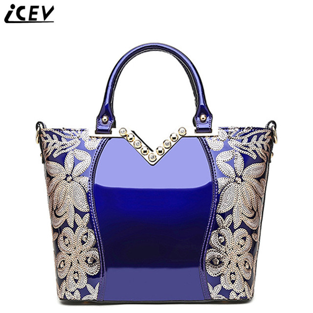 2017 New Luxury Designer Handbags Famous Brand Women Genuine Patent Leather Hand Bag Lace Embroidery