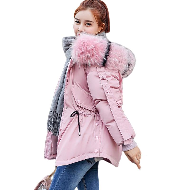 Jacket rust D142 Capuche white Black 2019 pink Manteaux Manteau Col Fourrure Coton Red À Femelle Down Femmes Pull De gray Grand Lâche Hiver Survêtement Veste cISBw1WqYU