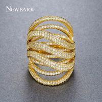 NEWBARK Brand Stacked Crystal Rings Gold Color Irregular Multi Row Cubic Zirconia Paved Shining Rhinestone Hollow Trendy Jewelry