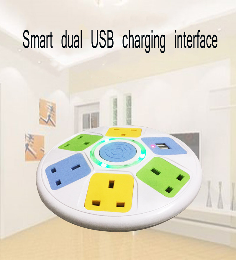 UK1 8M Extension Cord Smart Socket Disc Socket Multifunction Dual USB Power Switch Strip Terminal Block in Extension Socket from Consumer Electronics