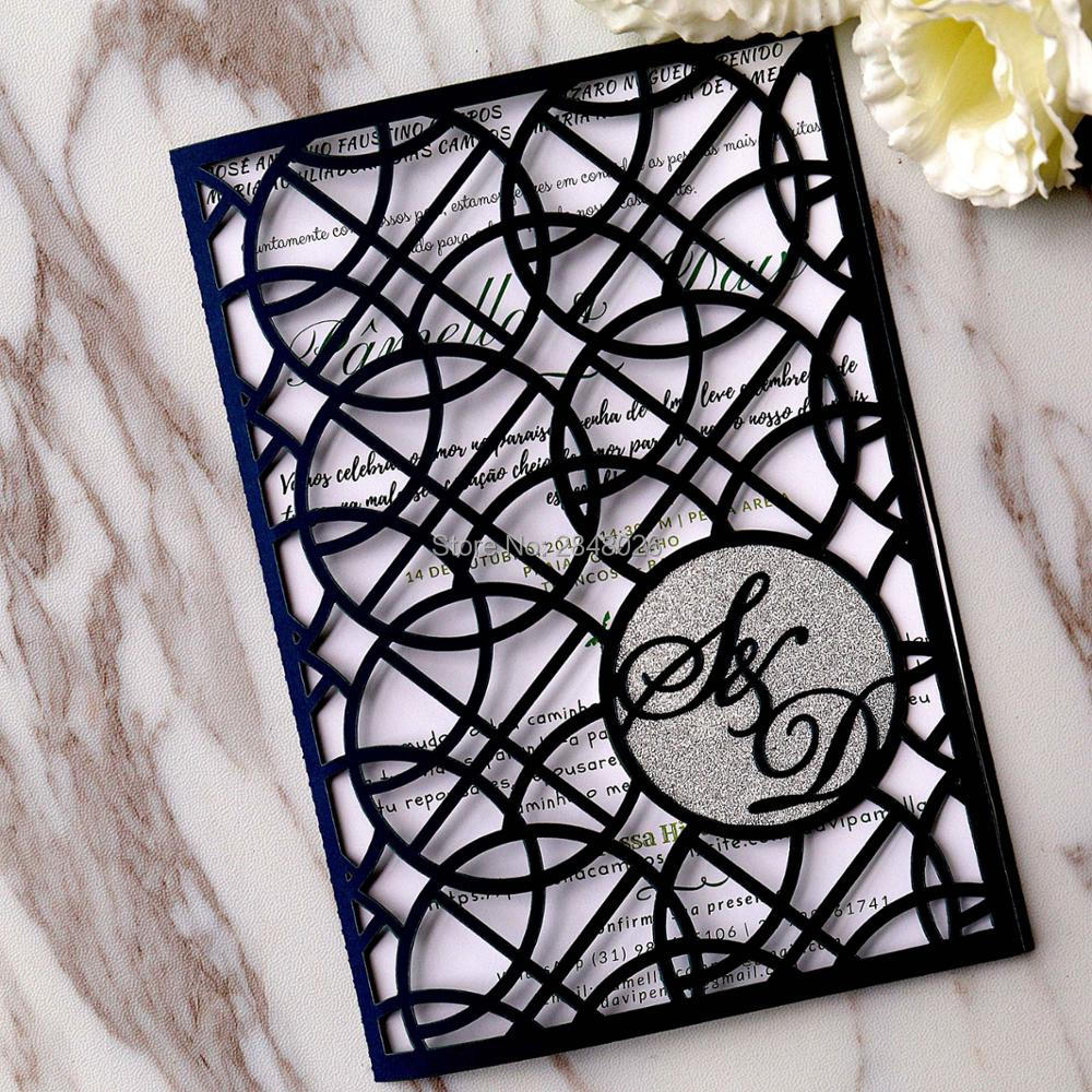 Us 9 56 13 Off 50pcs Monogram Navy Blue Laser Cut Wedding Invitation Great Gatsby Style Invitations In Cards From Home Garden On