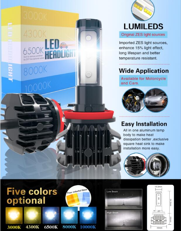 Super Bright 9000LM DIY 3000K 4300K 6500K 8000K <font><b>10000K</b></font> Auto <font><b>LED</b></font> <font><b>H4</b></font> H7 H8 H11 9005 HB3 9006 HB4 car headlight foglights image