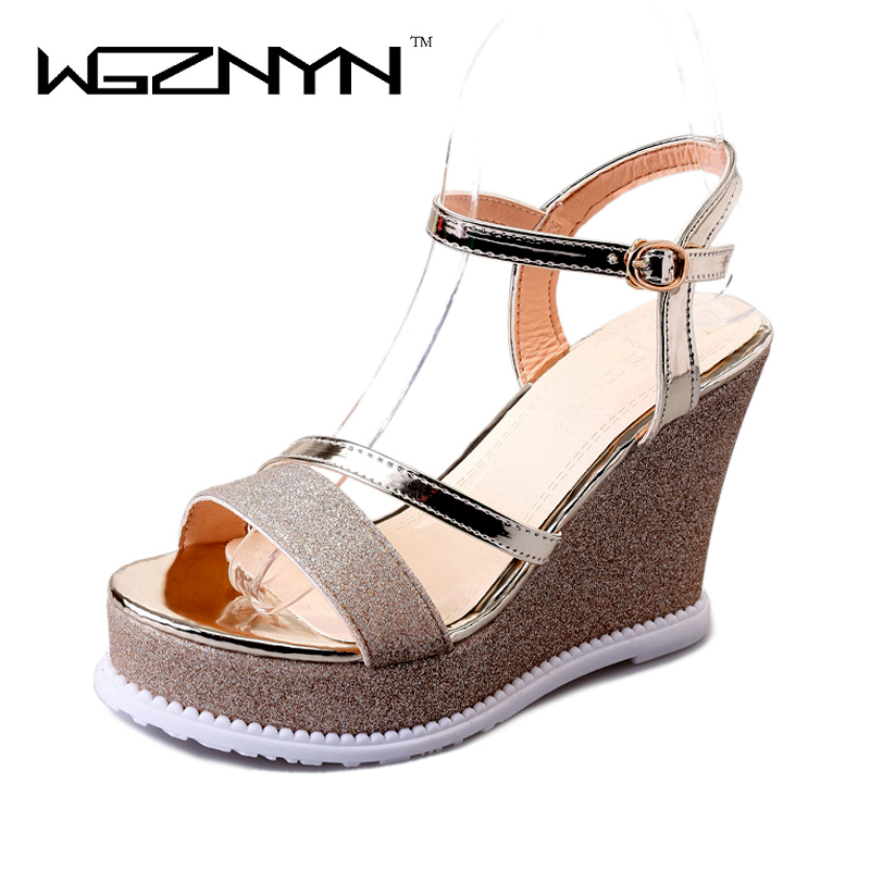 WGZNYN 2017 Summer New Women Sandals 10 CM Platform Sandals Gold Sliver Gladiator Fashion Hook Loop Woman Wedge Shoes Z435 phyanic platform women sandals 2017 new summer gladiator sandals beach flats shoes woman hook