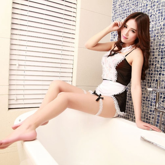 Lovely Maid Uniform Costumes Role Play Women Sexy Lingerie Hot Sexy Underwear Female White Lace Erotic Costume Newest Lingerie Sets
