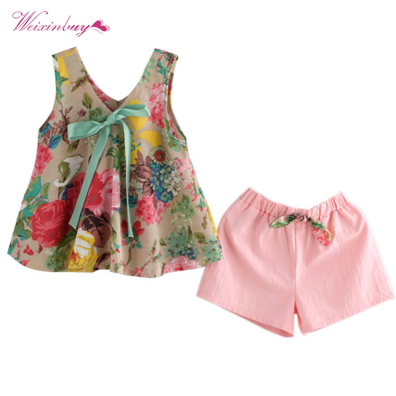 2017 Summer Baby Girls Floral Printed Sleeveless Vest Tops + Shorts Sets Kids Clothes