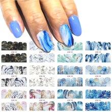 12 diseños de calcomanías de mármol degradado para uñas, calcomanías de imagen de cobertura completa, calcomanías de transferencia de agua, BN1345 1356
