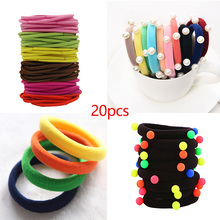 Cute Girls 20pcs/lot Candy Fluorescence Color Elastic Hair Bands Rubber Gum Maker Ponytail Holder Hair Ropes Hair Accessories 20pcs lot elastic hair bands gum hook ponytail holder bungee hair thick updo quick hair tool styling dresser hair accessories